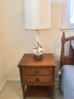 Two end tables match the dresser w/mirror