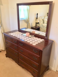Mahogany dresser with mirror and matching night stand