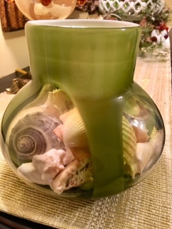 Green glass/shells